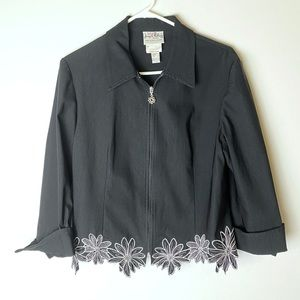 Joseph Ribkoff floral zip up blazer jacket size 14